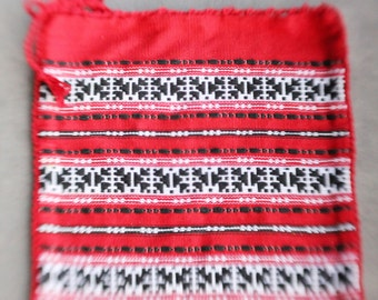 Vintage 70's Red, Black and White Ethnic Guatelmalan Woven Pillowcase