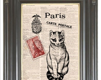 Paris Cat print Red Carte Postale COUPON SALE Dictionary art digital print Wall decor on antique dictionary or sheet music page. Item No 503