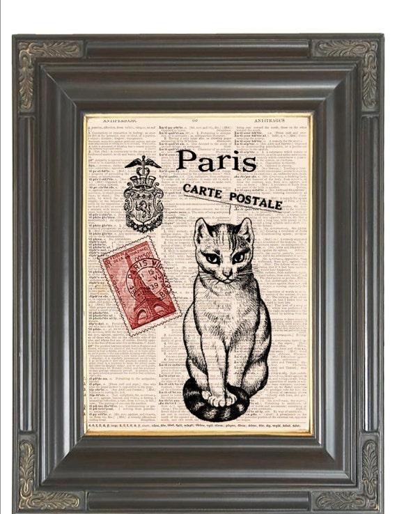 Paris Cat print Red Carte Postale COUPON SALE Dictionary art