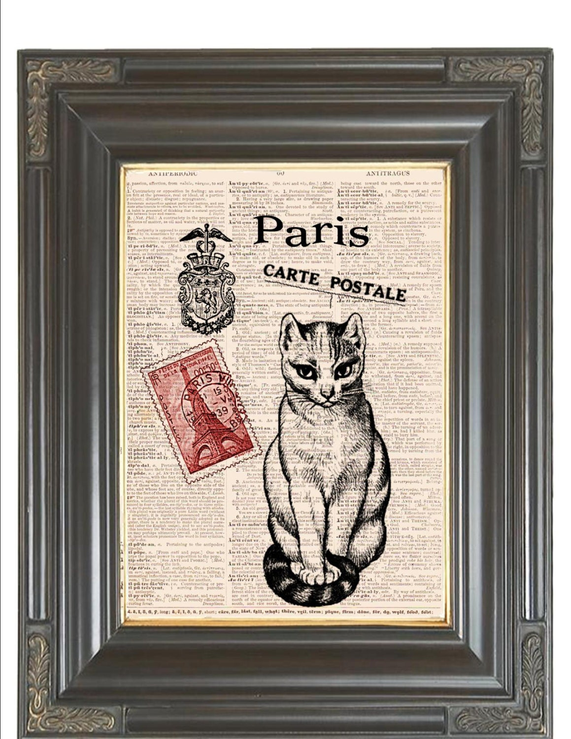 paris cat print red carte postale coupon sale dictionary art. Black Bedroom Furniture Sets. Home Design Ideas