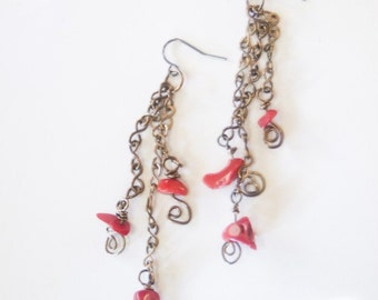 Red Coral and Gunmetal Chain Light Dangle Earrings - Red Red Wine - Art Jewelry by Sarah McTernen