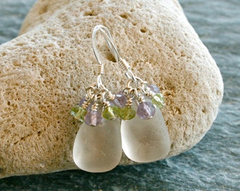 Sea Glass Earrings Amethyst Peridot Stelring Silver