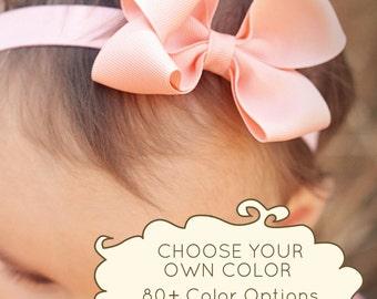 Hair Bow, Set of 4 Small Loopy Headbands, Baby Bow, baby headband, baby girl, white bow, pink bow, baby, bow, headbands, Kinley Kate, Baby