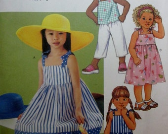 Butterick 3477 Girls Dress Top Short Pants Sewing Pattern Breast 25 to 27 Size 6 to 8