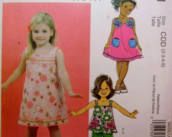 McCalls 6061 Girls Top Dress and Pants Sewing Pattern Breast 21 to 24 size 2 to 5