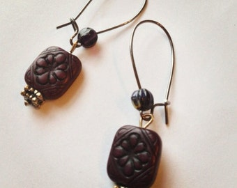 Dark Purple Floral Tablet Earrings