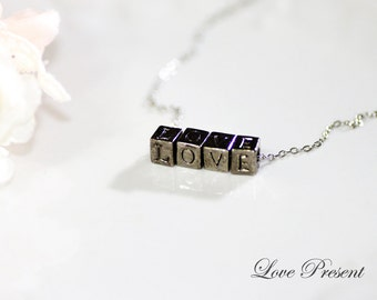 LOVE Alphabet Necklace . Bridesmaids gift, Wedding Gift, Personalized Initial Cube Necklace - Pefect Gift for Lover - Color Silver