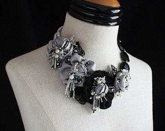 OPHELIA Black and Silver Wearable Art Statement  Necklace