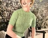 Cascading Hearts Jumper c. 1950s - vintage knitting pattern PDF (519)