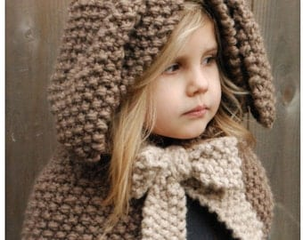 Knitting PATTERN-The Royalynn Rabbit Hood (6/9 month - 12/18 month - Toddler - Child - Adult sizes)