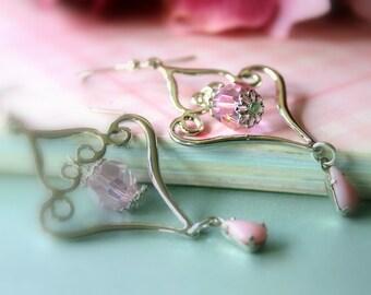Pink Chandelier Earrings, Drop Earrings, Dangle Earrings, Chandelier Earrings, Bridal Jewelry, Wedding, Modern Earring, Summer, Mother's Day