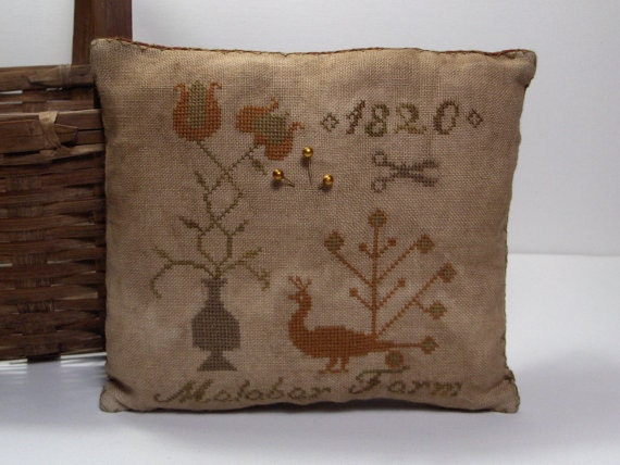 Primitive Cross Stitch Malabar Farm Pinkeep sampler pillow