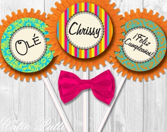 """Mexican Fiesta Party Cupcake Toppers, 2"""" Custom Party Squares By Cutie Putti Paperie"""