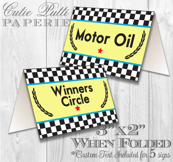 Race Car Party, Vintage Race Car Party Printable Tent Signs by Cutie Putti Paperie