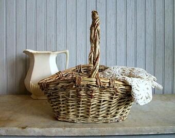 Vintage Shabby Chic White Chippy Basket/ Easter Basket