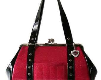 Hot Pink Purse - Vinyl Handbag - Pink and Black Bag - Sparkle Purse - Rockabilly Bag - MADE TO ORDER