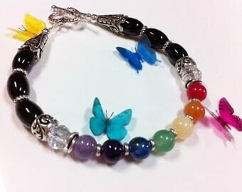 Chakra Bracelet with Genuine Onyx, Chakra Energy Jewelry, Yoga Jewelry, Reiki Charged, 7 Chakra Energy Bracelet, Onyx Chakra Bracelet, LGBT