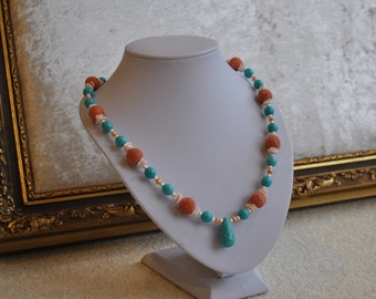 Hand made - Elegant turquoise, coral, pearl and shell necklace