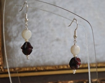 Handmade dangle earrings - Bridal - Ivory bead, antique deep red glass bead and tiny ivory freshwater pearls
