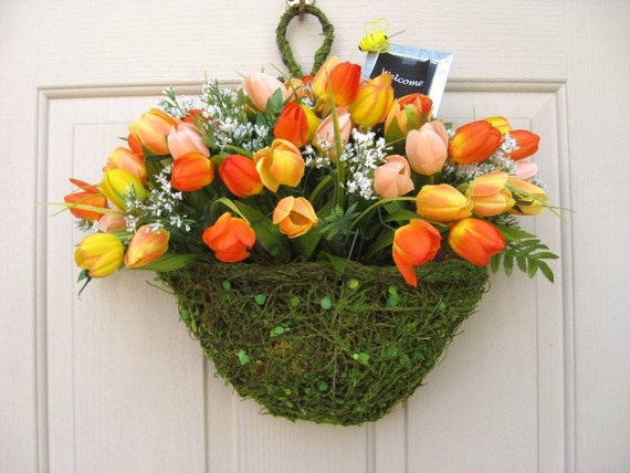 orange yellow tulip basket for door hanger