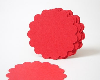 """50 - 1.5"""" Red Scalloped Circles Punch Tags, Gift Tags, Cupcake Toppers, Scrapbooking, Embellishments - No250"""