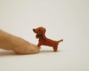 miniature animal 0.6 inch - dollhouse crochet brown Dachshund dog - tiny amigurumi animals