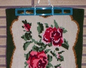 Vintage Red Roses and Green Accents Needlework Pillow Panel - Pillow Cover - Home Decor