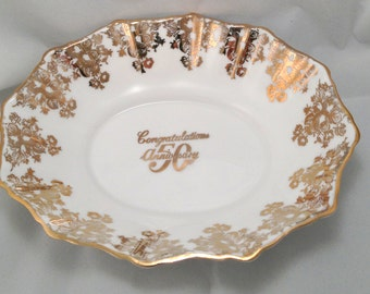 Royal Albert 50th Gold Anniversary Small Oval Bowl - Bone China - England - roses - gold - lace- gilded - congratulations