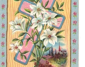 Nash Postcard -Best Easter Wishes - Easter Cross Series No. 19 - Antique Postcard