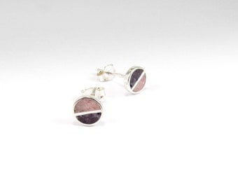 Sterling Silver Earrings, Pink and Purple, Divided Circles, Soft Colors, Modern, Contemporary, Minimal