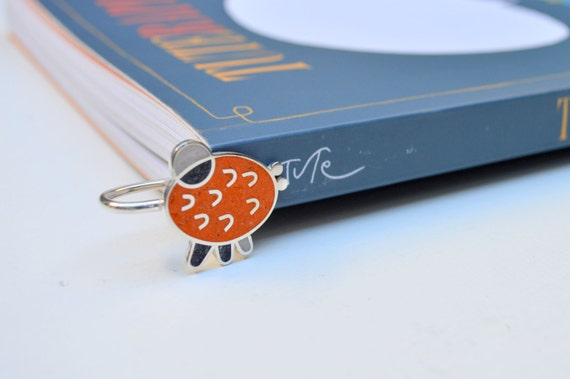 Sterling Silver Bookmark, Funny, Colorful, Modern, Contemporay, Orange, OOAK