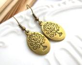 SUPER SALE - Antique Brass Wisdom Tree Earrings