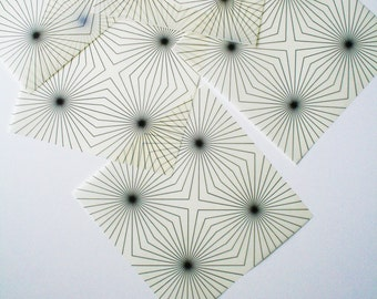 Origami Paper with Quad Radial Geometric Pattern -  12 Sheets Medium 5 Inch Squares - Translucent Origami Paper - Unique, Geometric, Modern