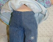 Peace sign embroidered jeans for 15 in Waldorf Inspired Doll