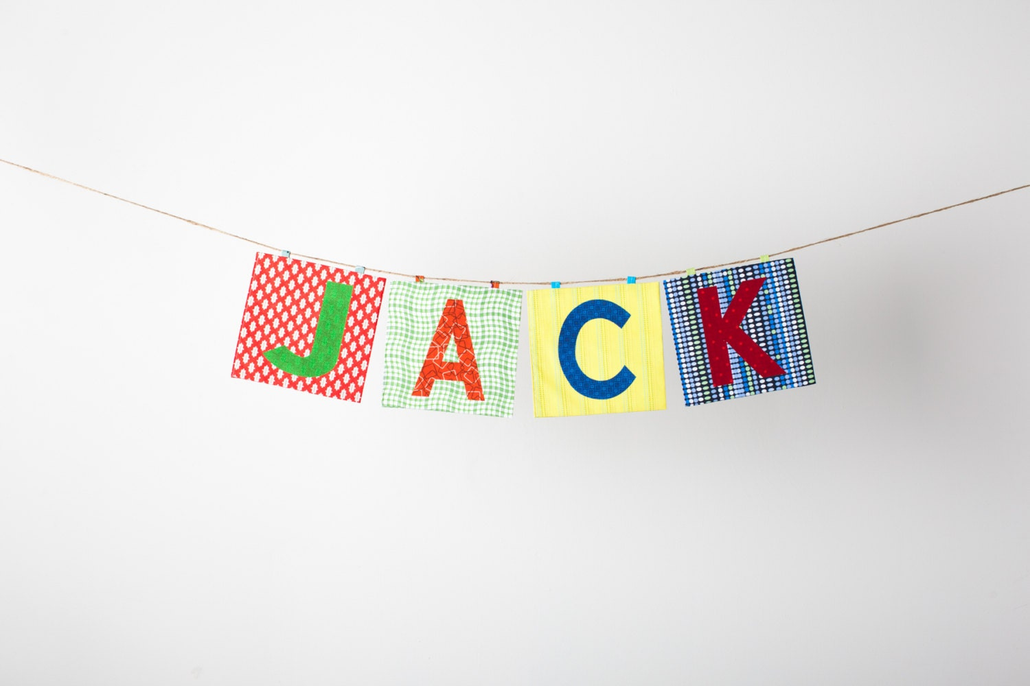 Custom Fabric Applique Name Banner in the JACK Collection