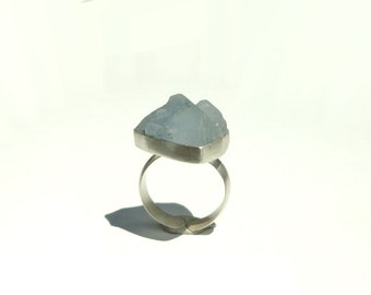 Celestine - Celestite -Raw  Natural Crystal Adjustable Ring in Recycled Silver