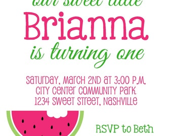 SWEET WATERMELON Pink & Green Birthday 5x7  Invitation - Girl DIY Printable