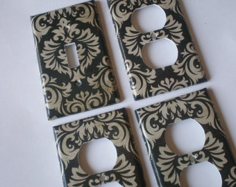 Black and Tan or Off White Damask SIngle Light Switch Plate Set / Black And Tan Decor / Black Light Switch Plate / Damask Light Switch Cover