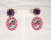 Zombie Earrings with Purple Flowers