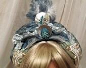 Avant Garde Headband, Fantasy Blue Crown, Unique Metal & Blue Hair Accessory, Something Blue Haute Couture Head Piece