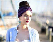 SPECIAL PRICE! Turban head wrap in Plum purple,perfect for workout,  Stretchy women's hippie, indie, Headband hair band