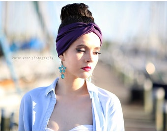 SPECIAL PRICE! Plum purple,Turban head wrap perfect for workout,  Stretchy  hippie, indie, Headband hair band
