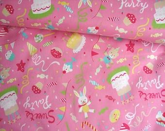 SALE-Japanese Cotton Fabric, Bunny Fabric, Kids Fabric, Teddy Bear Fabric,Girly Fabric,Party Decor Fabric,Birthday Decor/Sweets Party/a yard