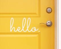 Hello Vinyl Door Decal - Hello Front Door Decals, Hello Home Office Decor, Custom Vinyl Decals, Hello Vinyl Hello Decal, Vinyl Company 11x5