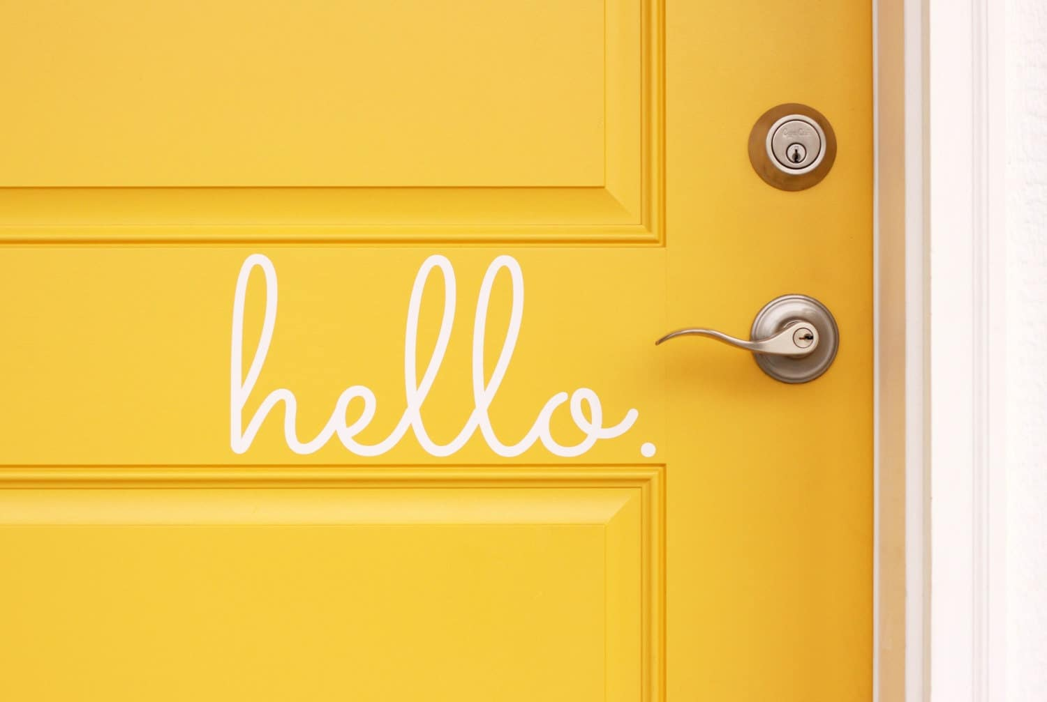 Hello vinyl door decal hello front door decals hello home for Door mural stickers