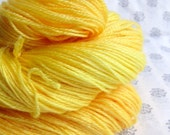 Hand Dyed Sock Yarn Merino Wool and Tencel Blend, Yellow, Orange, 100g