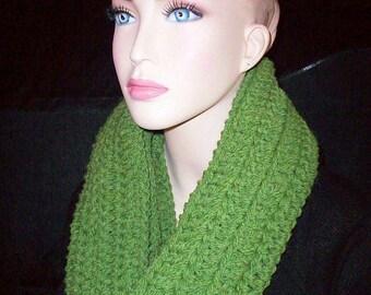 Green Crochet Infinity Scarf Handmade Infinity Scarf Green Crocheted Infinity Scarf Green Loop Scarf Infinity Scarf