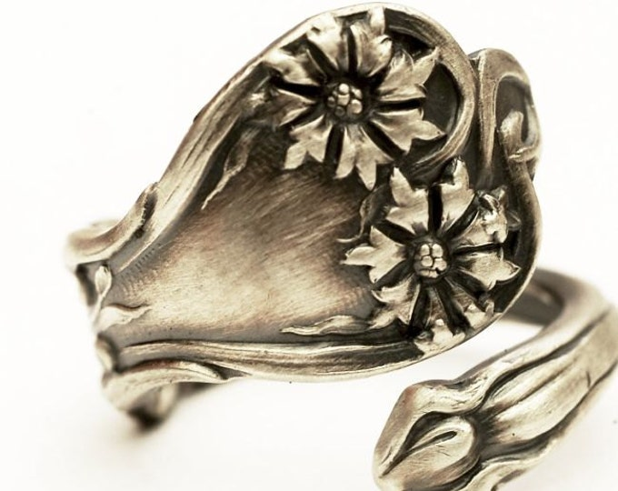Carnation Ring, Sterling Silver Spoon Ring, Alvin Sterling, Art Nouveau 1900 Majestic, January Flower, Adjustable Ring Size 4 5 6 7 8 (6124)