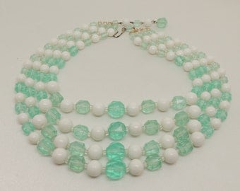 Vintage Green and White Multi-Strand Necklace