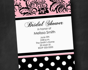 Black, White, Pink Bridal Shower Invitation (Digital File)
